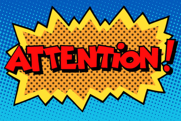 attention inscription comic book style pop art retro - being used to show multiple types of content development.